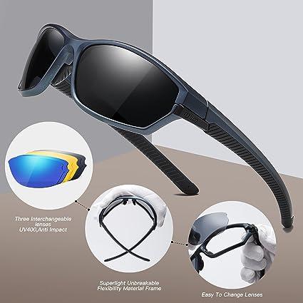 Duco polarizado deportes mens gafas de sol para esquí de conducción Golf Running ciclismo Tr90 Superlight marco con 3 lentes intercambiables 6216: ...