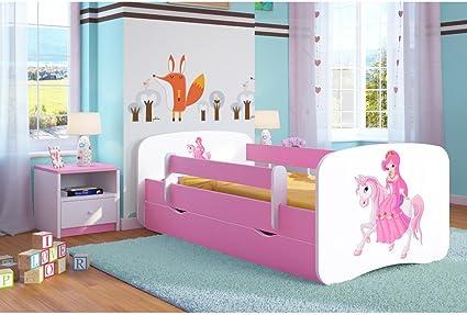 Cama infantil, diseño de Princesa sobre su caballo, 80 x 180 cm con barrera de seguridad, somier, cajones y colchón incluidos, rosa