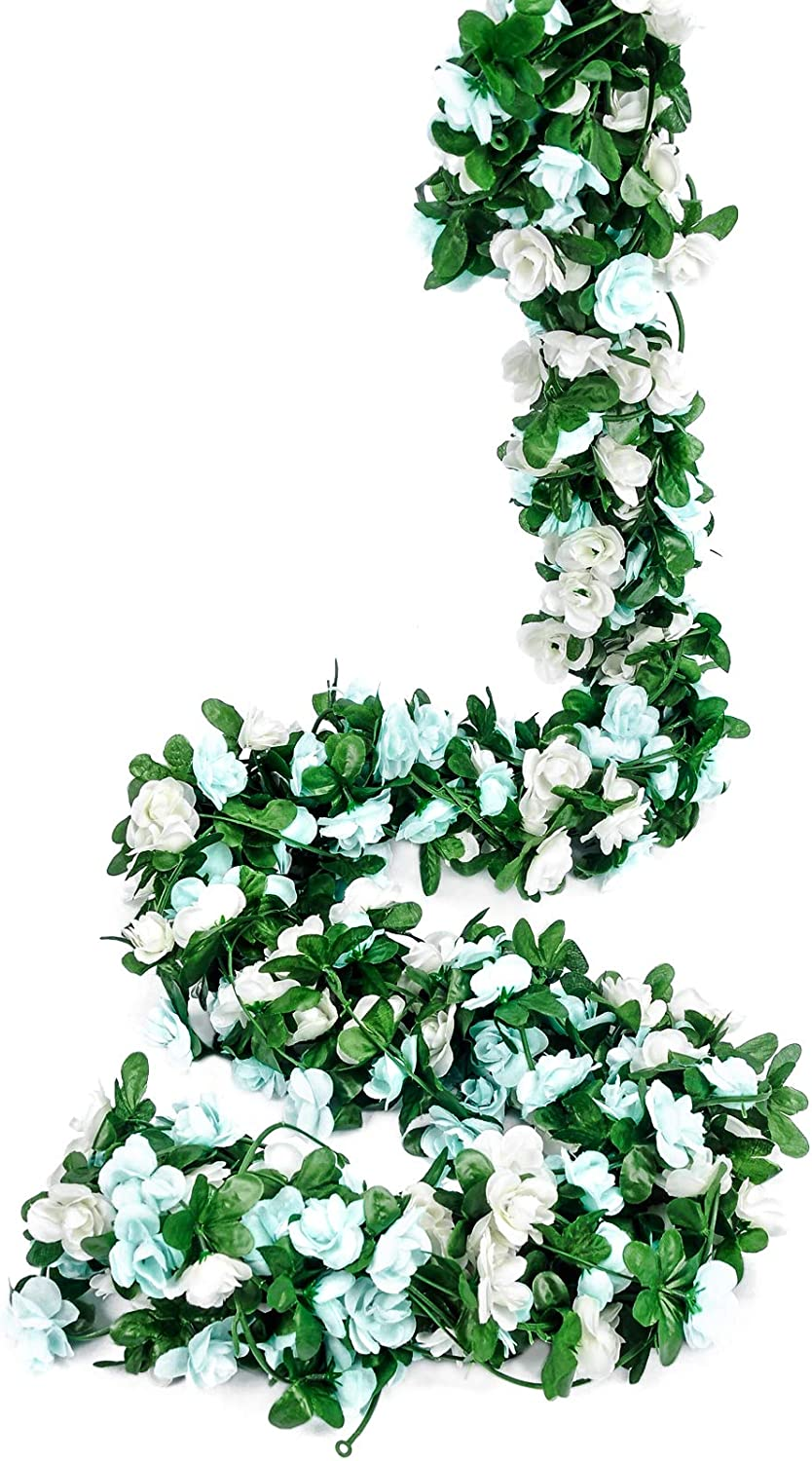 Miracliy 8 pcs 66 FT Flower Garland Fake Rose Vine Artificial Flower Hanging Rose Ivy Home Hotel Office Wedding Party Garden Craft Art Décor (All Blue)