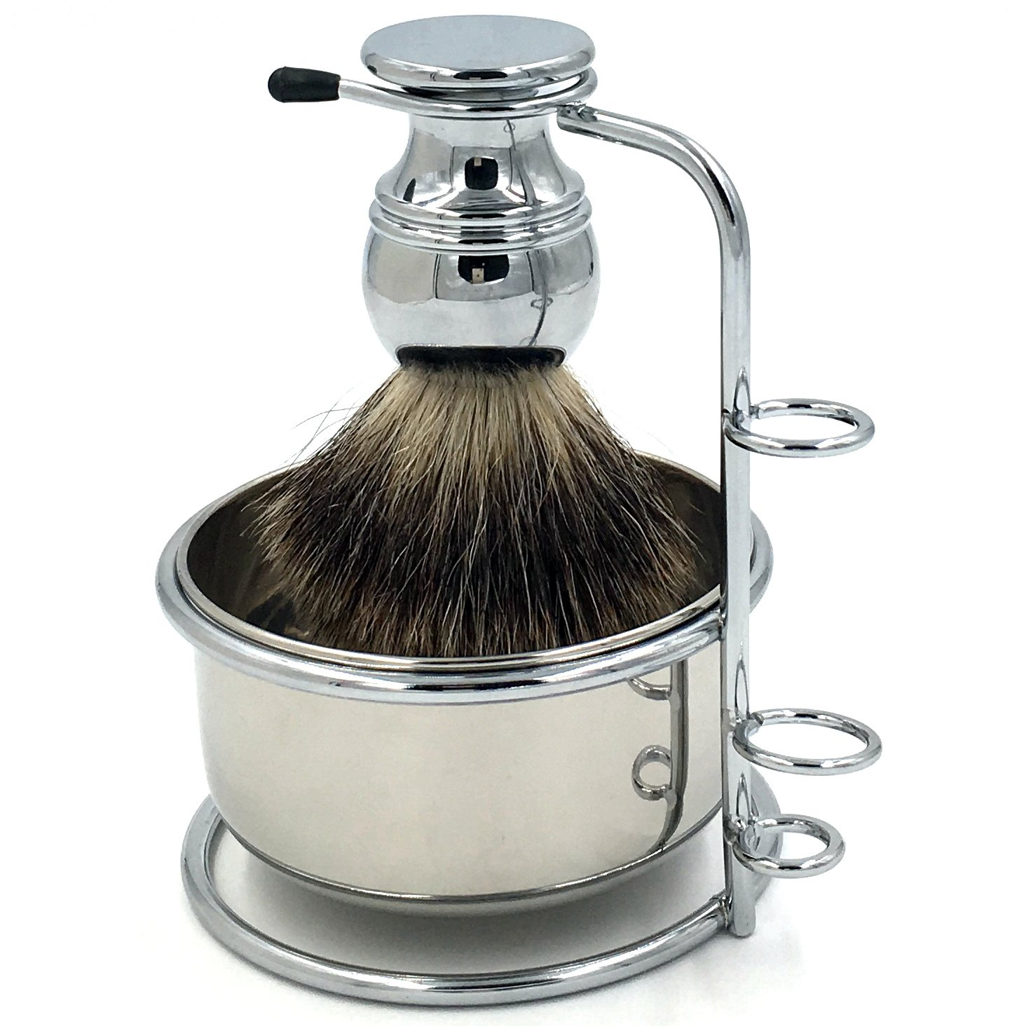 Safety Razor Shaving Kit: Genuine Badger Brush - Outstanding Quality Elegant Silvery Alloy Brush Handle + Beautiful Stainless Steel Shaving Soap Bowl and Razor Brush Stand, The Best Gift for Gent Mens Shanwo