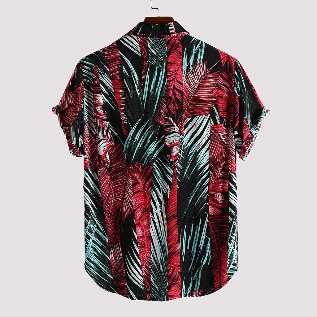 Severkill Mens Hawaiian Printed Loose Beachwear Short Sleeve Casual Buttons Down Shirt Blouse Tops