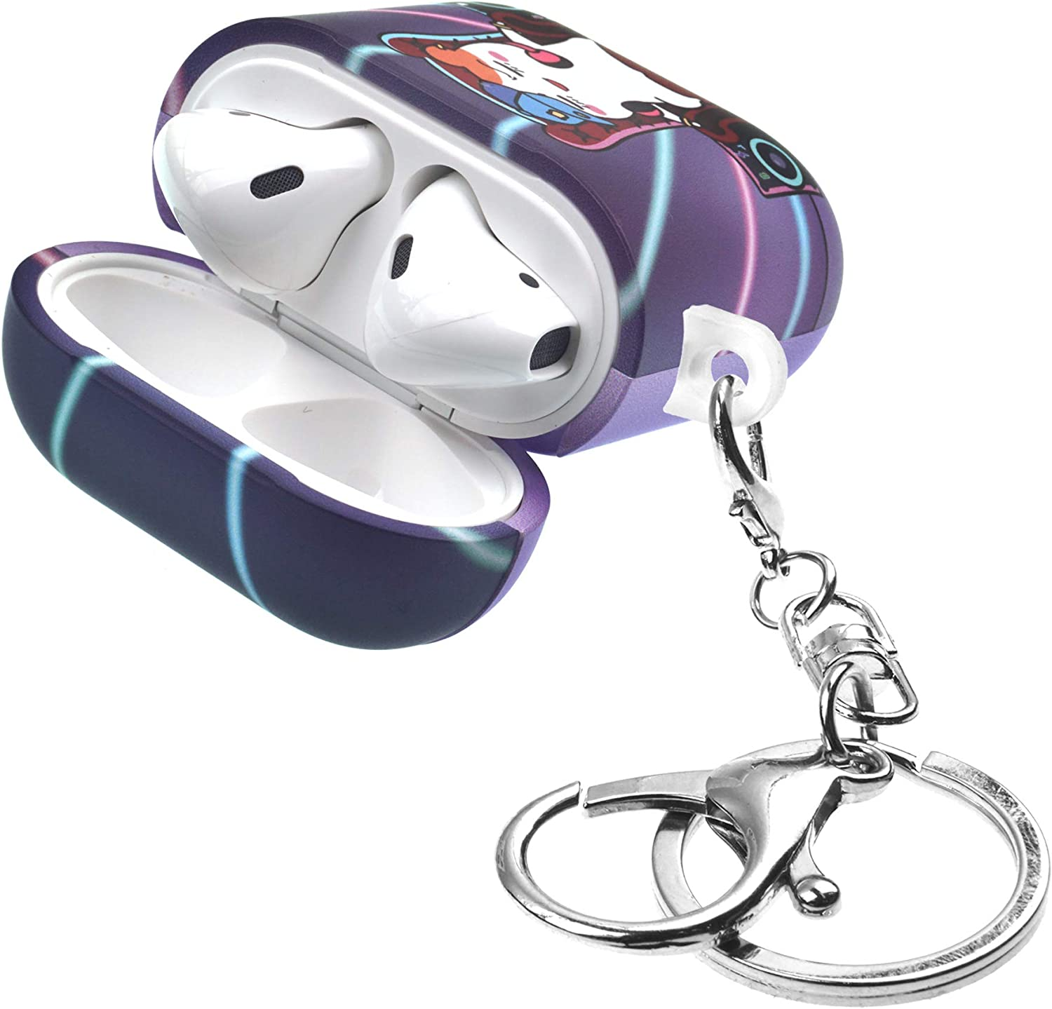 Front LED Visible Compatible with Apple Airpods 1 /& AirPods 2 Outing Ebichu Flower ORUCHUBAN EBICHU AirPods Case with Key Ring Keychain Key Holder Hard PC Shell Strap Hole Cover