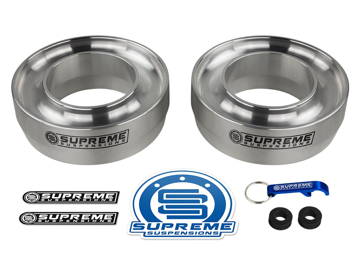Supreme Suspensions - 2WD Dodge Ram 1500 Leveling Kit 3'' Front Lift Aircraft Billet Coil Spring Spacers (Silver) by Supreme Suspensions