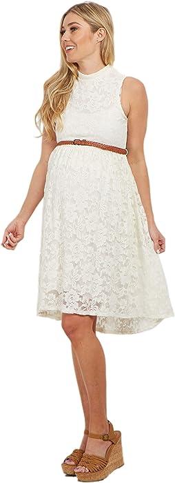 9f3adea33b5 PinkBlush Maternity Ivory Lace High Neck Belted Maternity Dress ...