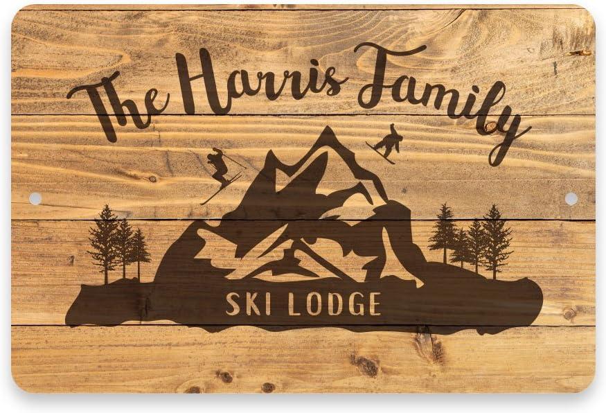 Pattern Pop Personalized Rustic Wood Plank Ski Lodge Metal Room Sign