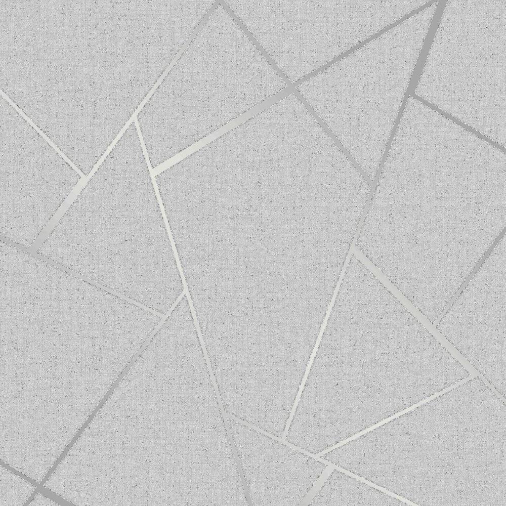 Fine Decor Wallcoverings FD42280 Fractal Quartz, Silver