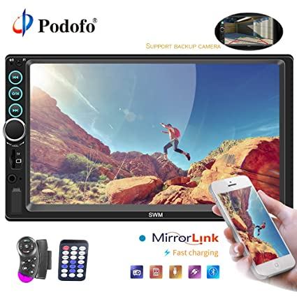 amazon com podofo car stereo 2 din car radio with reversingpodofo car stereo 2 din car radio with reversing camera audio bluetooth 7\u0026quot; touch