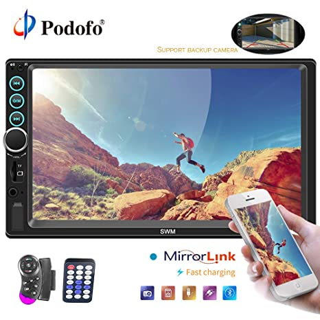 "Podofo Car Stereo 2 Din Car Radio with Reversing Camera Audio Bluetooth 7"" Touch Screen"