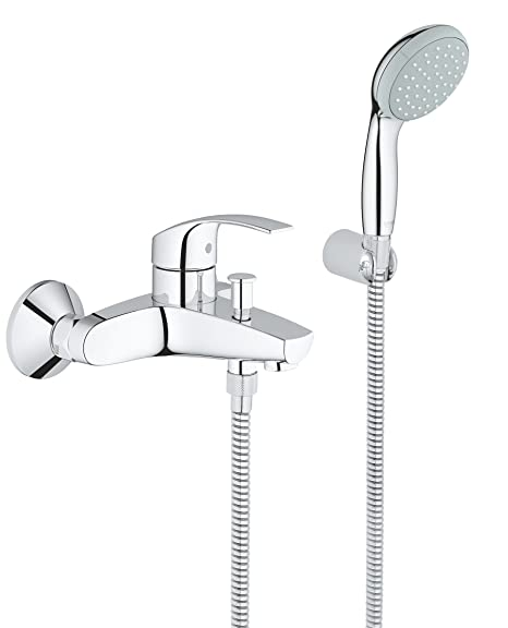 GROHE Eurosmart Bath Tap With Shower Set, Single Lever Bath Mixer, Wall