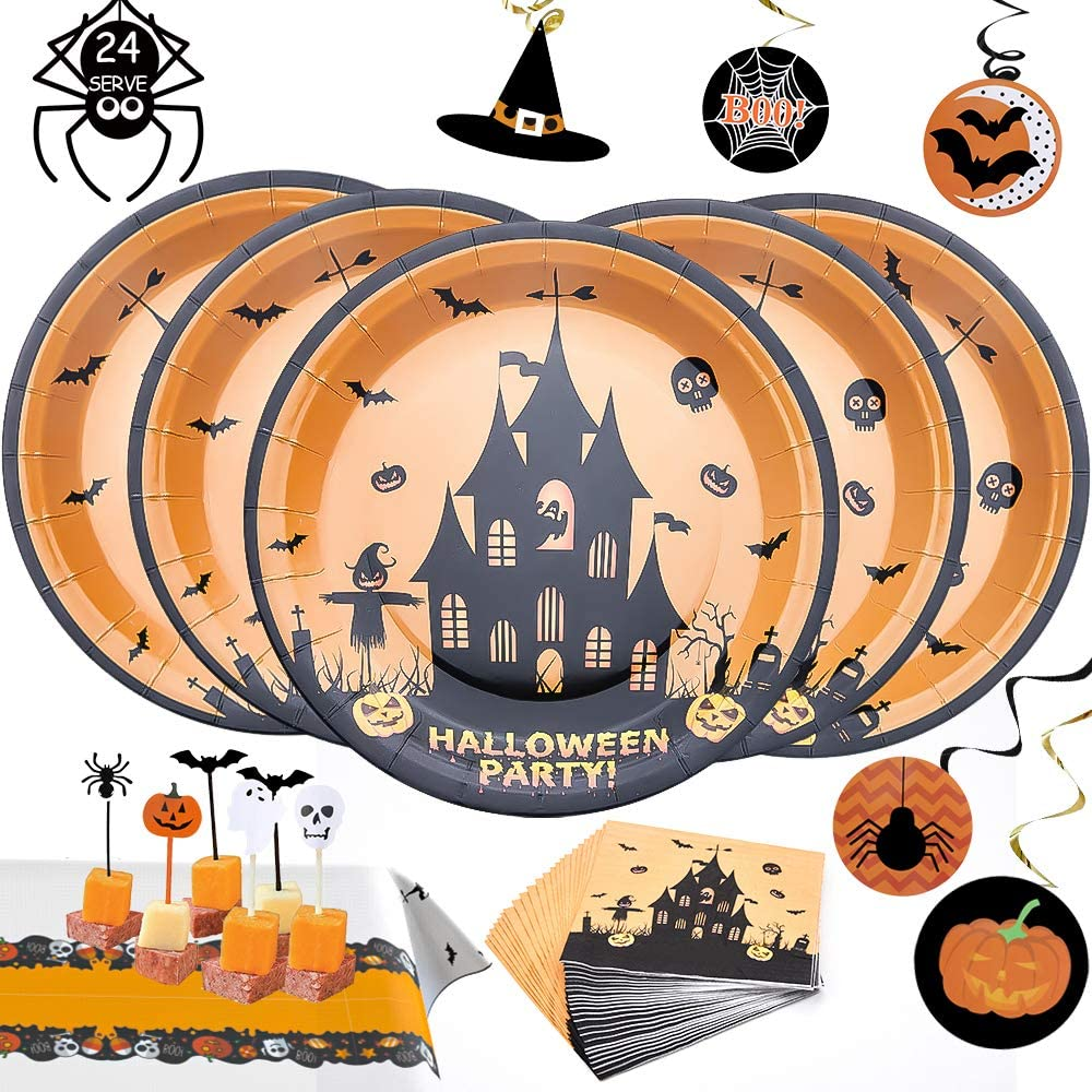 Halloween Plates Party Supplies Disposable Platters Sets Bundle Includes 24 Paper Plates,24 Napkins, 24 Cake Topper, 24 Hanging Swirls and 2 Table Covers- Serves 24 Guests