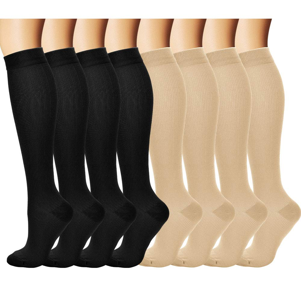 Laite Hebe Brand Women and Men Compression Socks(8 Pairs)-Best Medical,Nursing,Hiking,Travel,Running,Large/X-Large,Black+Nude