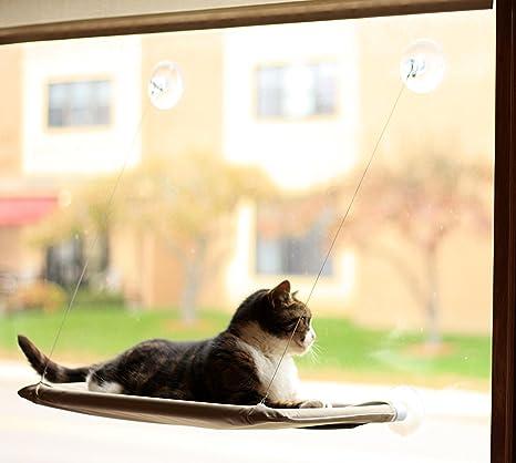 Hamaca para gatos, ideal para ventanas, ahorro de espacio, segura, proporciona una