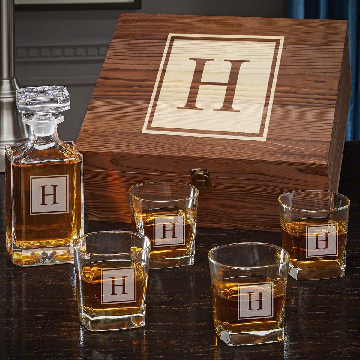 Block Monogram Personalized Whiskey Decanter Set (Customizable Product)