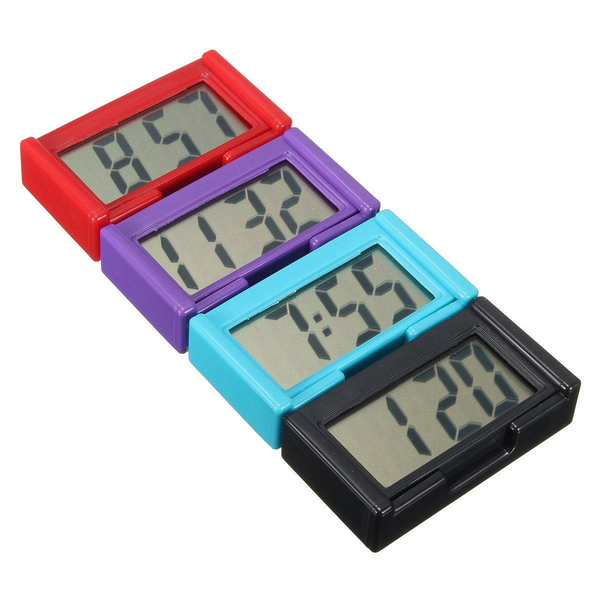 Maiile Automotive Digital Car LCD Clock Self-Adhesive Stick On Time Portabl Blue