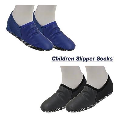 262bb5306f73 Footmate Children Slipper Socks (2 Pair Pack) (R.Blue-D.Grey