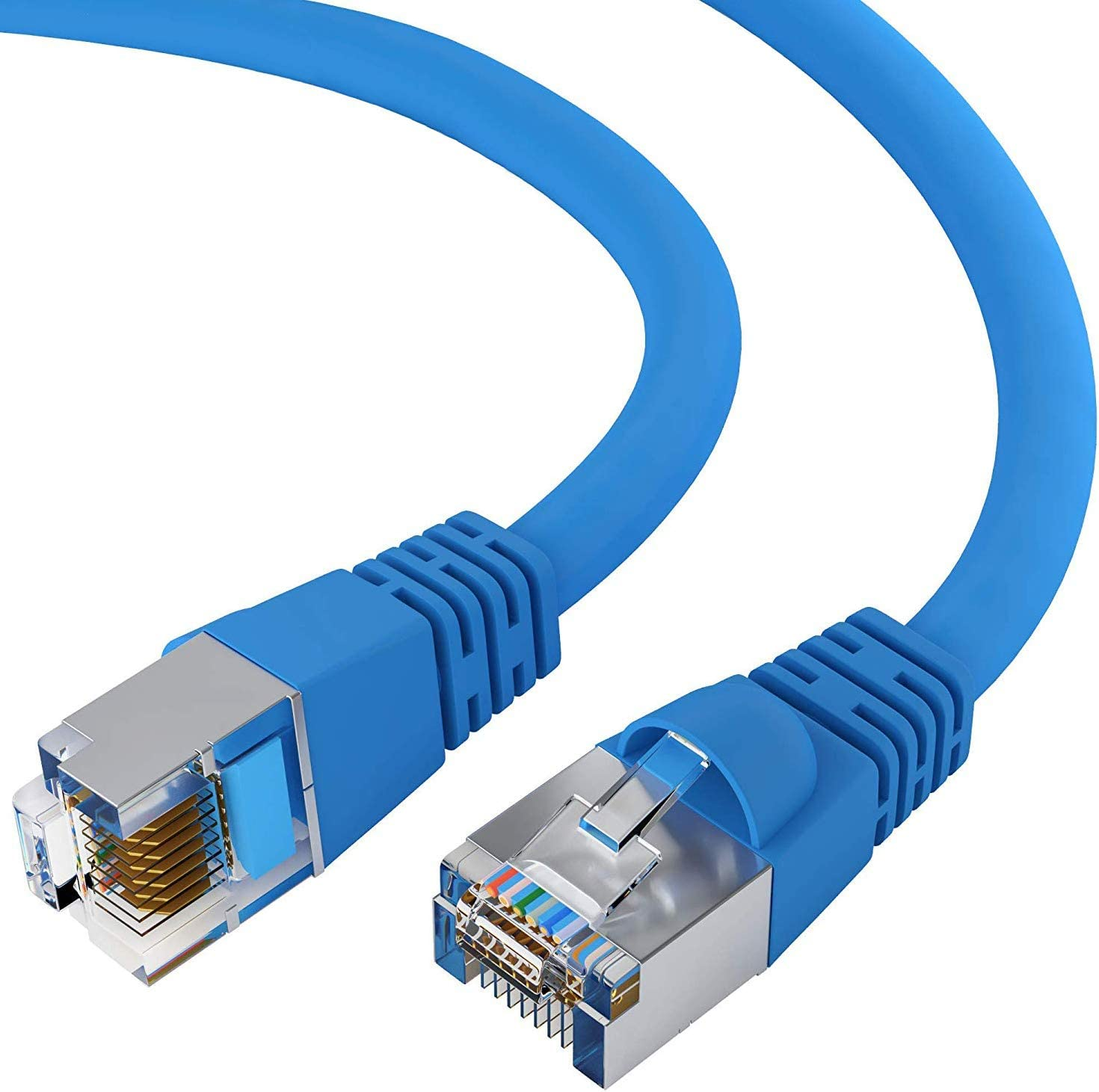 Cat5e Shielded Ethernet Cable RJ45 10Gbps High Speed LAN Internet Cord 1 Feet - Blue FTP Computer Network Cable with Snagless Connector Available in 28 Lengths and 10 Colors GOWOS 100-Pack