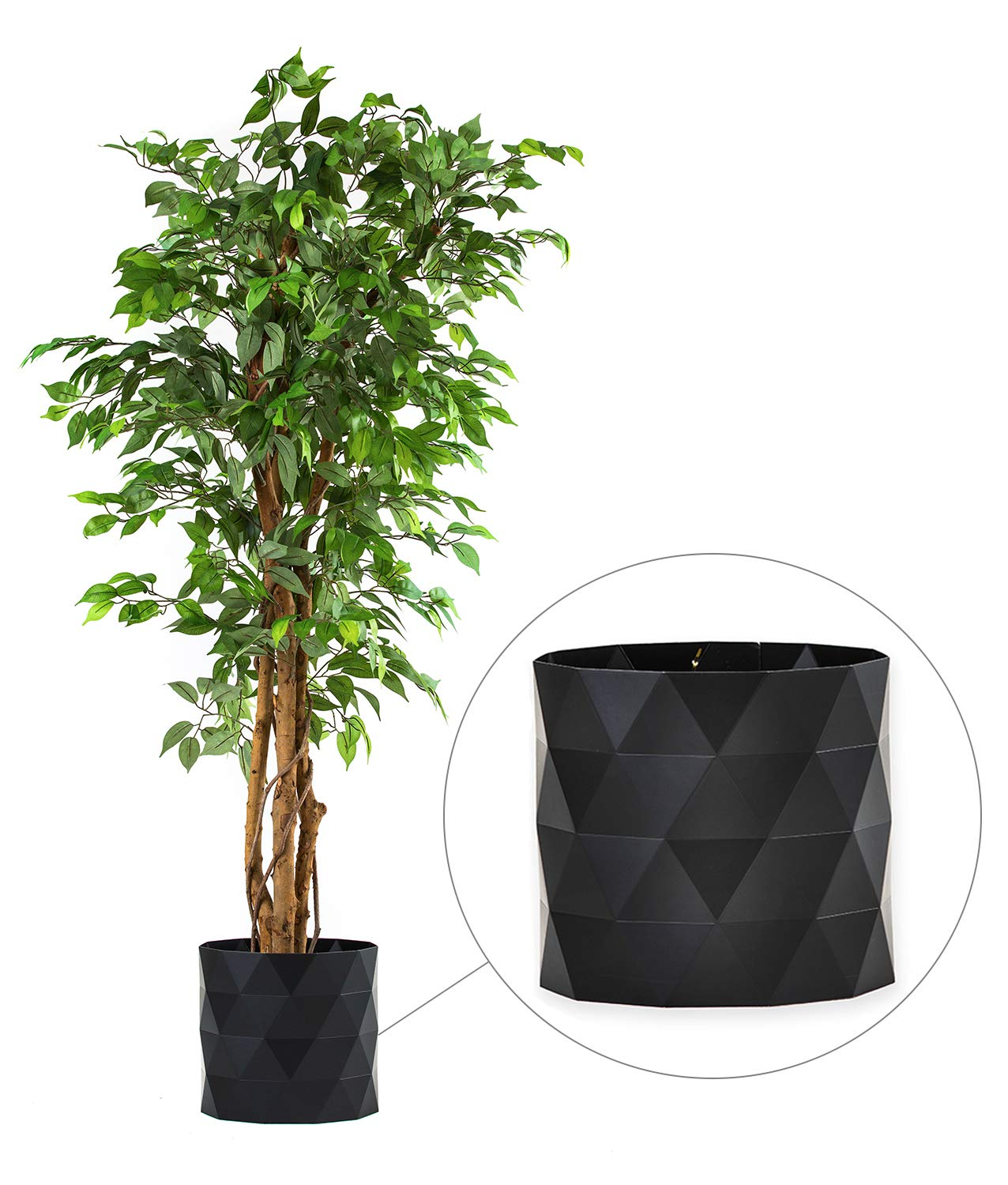 """DELUXE 6 Feet Tall FICUS Silk Leaf Artificial Tree + 8"""" Base + 12"""" Plant Pot Skirt. 18 Feet of Vine Adorn Wide Real Trunks With Green Leaves Allowing Maintenance Free In-Door And Outdoor Use"""