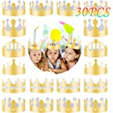30 Pieces Golden King Crowns (6 Style), MSDADA Gold Foil Paper, Party Crown Hat Cap for Birthday,Celebration Baby Shower,Phot