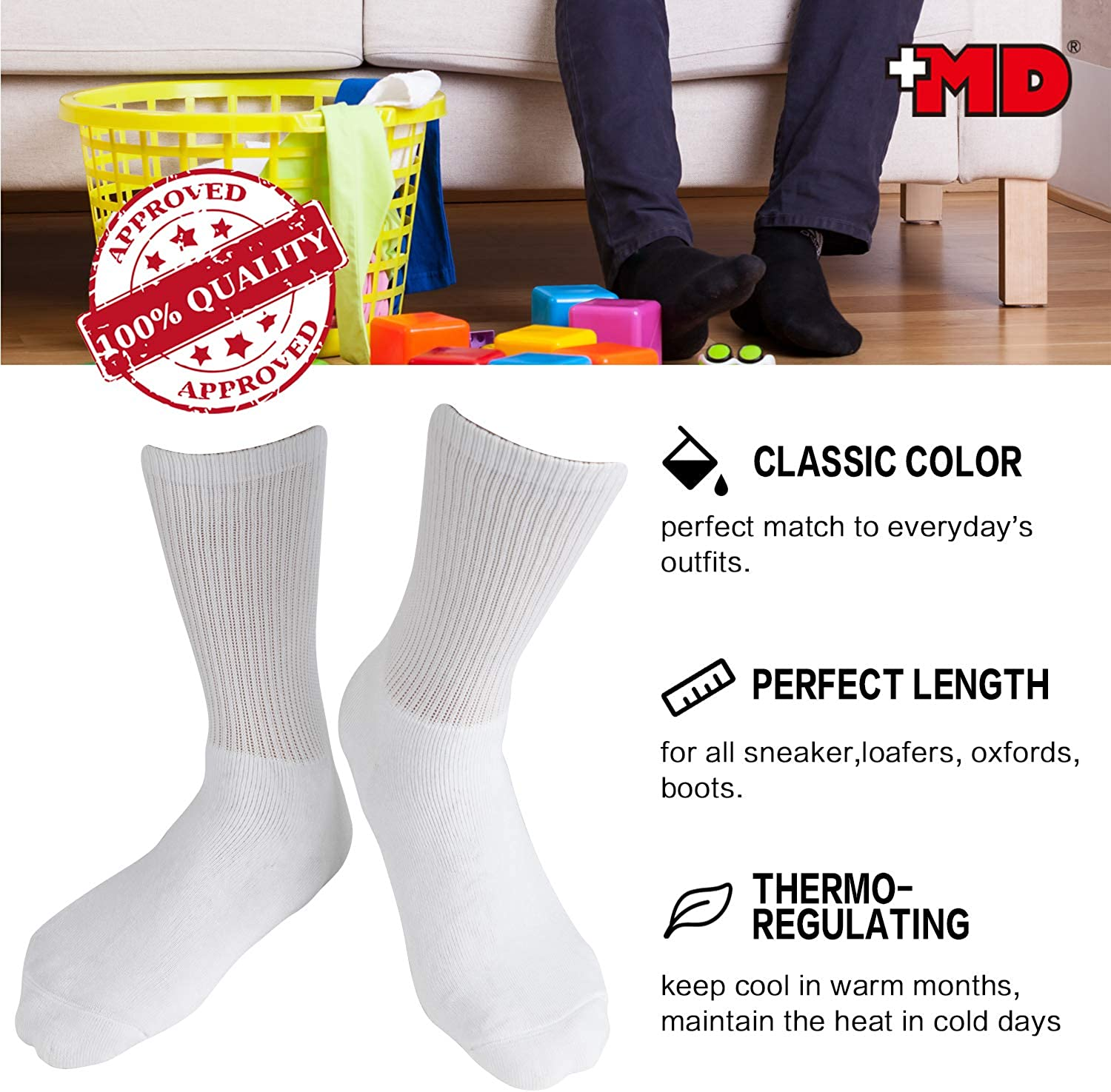 +MD 6 Pack Mens Bamboo Crew Socks Extra Heavy Full Cushion Work Socks Moisture Wicking Hiking Trekking Sports Casual Socks