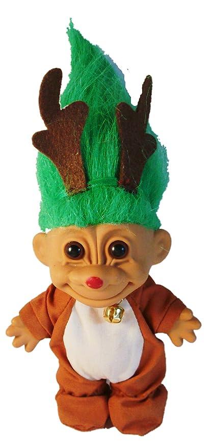 Amazon Com Troll Doll Reindeer Christmas Troll With Green Hair By