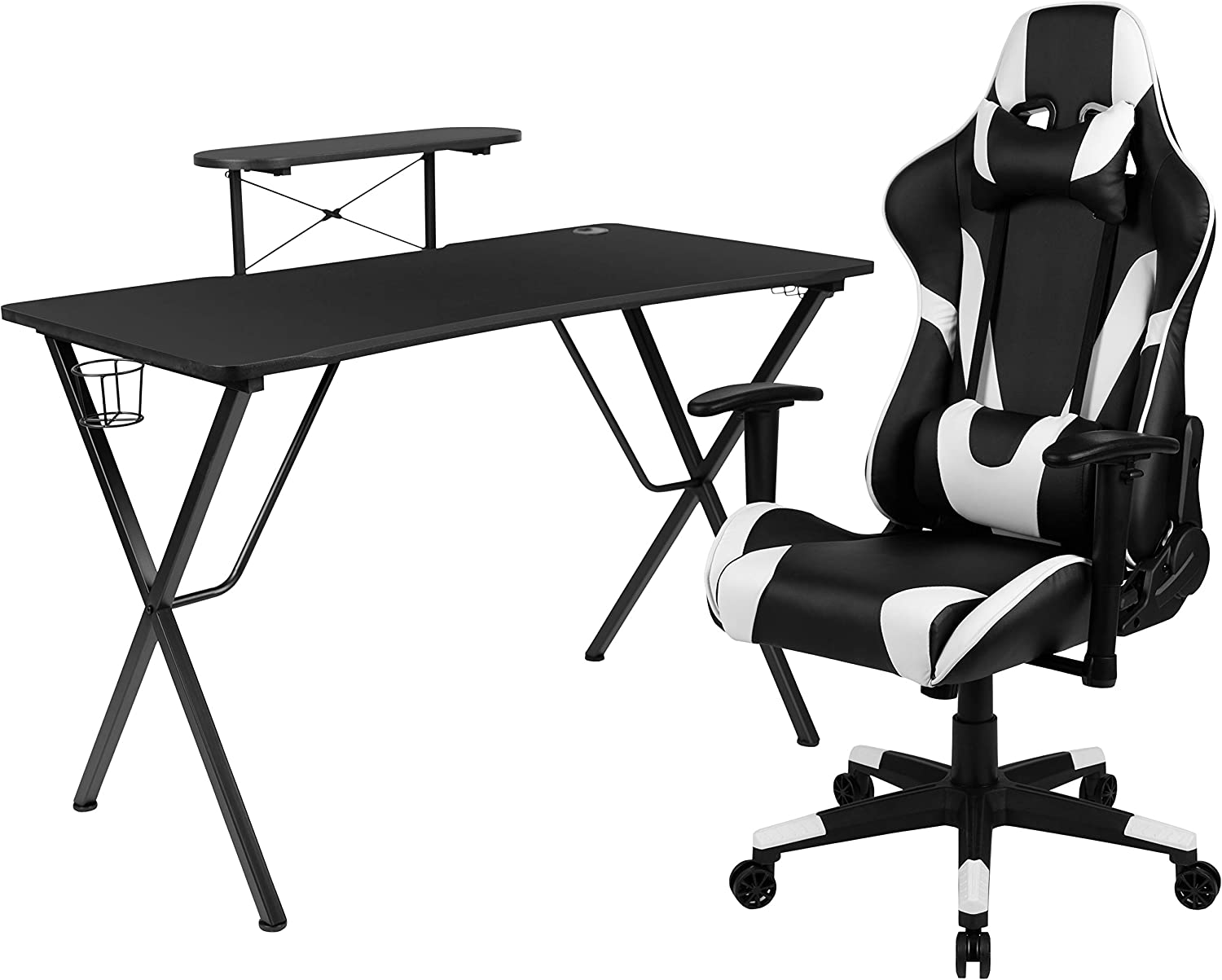 Flash Furniture Black Gaming Desk and Black Reclining Gaming Chair Set with Cup Holder, Headphone Hook, and Monitor/Smartphone Stand