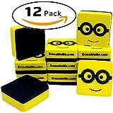 ItemMax Dry Erase Erasers | Magnetic Whiteboard Eraser for White Boards with Ez-Erase Felt | 12-Pack