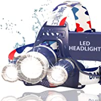 NEWEST And BEST Version Headlamp, Brightest Head Lamp Provide 1080 Lumens with 3 Original Cree Led. 2 Powerful Rechargeable Batteries, Maximum Comfort Headlamps For Outdoor & Indoor, With Red Light.
