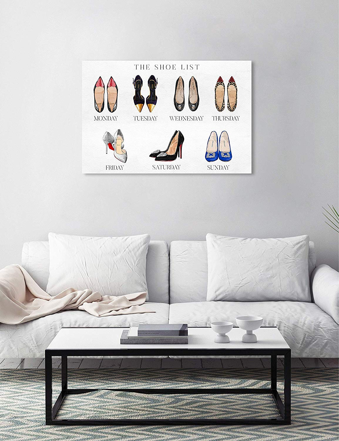 19065/_36x24/_CANV/_XHD Oliver Gal The Shoe List The Fashion Wall Art Decor Collection Modern Premium Canvas Art Print The Oliver Gal Artist Co