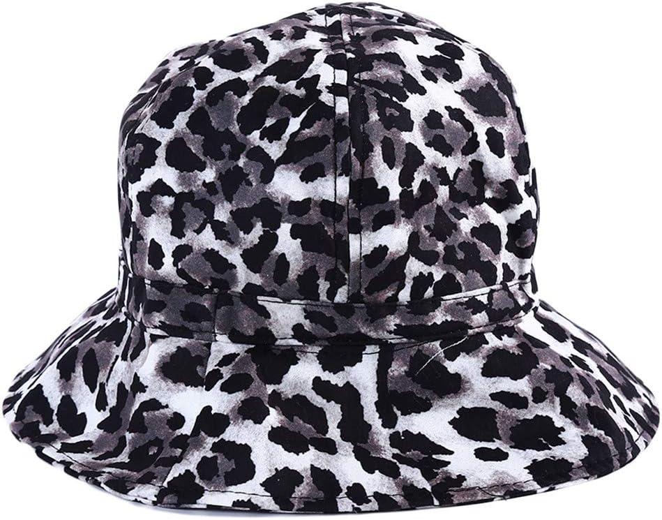 YSINFOD Leopard-Fischer-Hut Frauen-Weinlese-Leopard-Muster-Fischer-Hut-modische kreative Sommer-breite Rand-Strand-Sonnenkappe Grauer Leopard