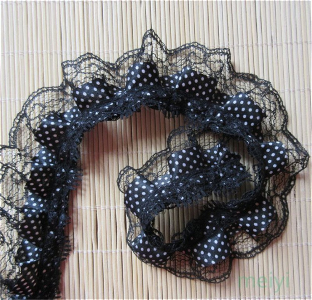 2M Vintage 2-layer Gathered Lace Edge Trim Ribbon DIY Clothing Sewing Crafts