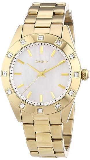 DKNY 0 - Reloj de cuarzo para mujer, con correa de acero inoxidable chapado, color dorado: Amazon.es: Relojes