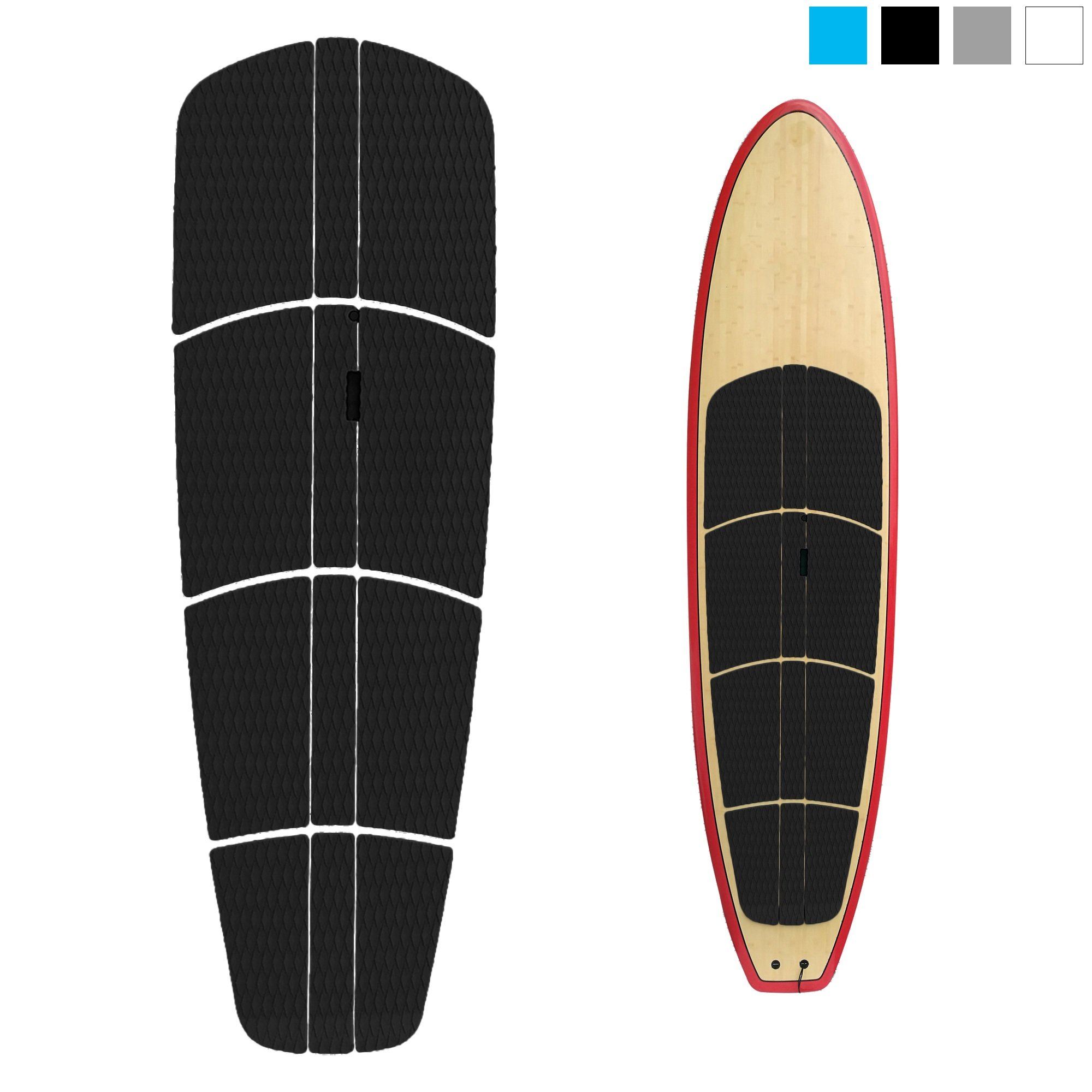 ABAHUB 12 Piece Surf SUP Deck Traction Pad Premium EVA with Tail Kicker 3M Adhesive for Paddleboard Black by ABAHUB