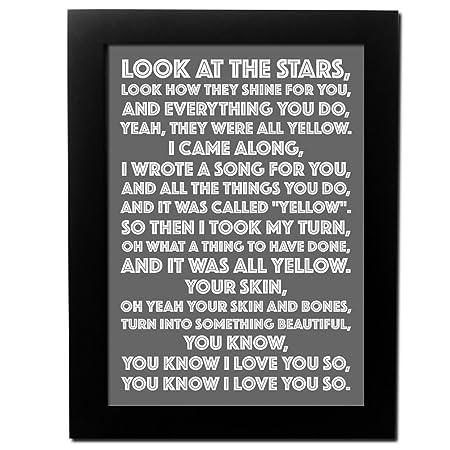 Personalised Song Lyrics Poster (A4, Black Frame): Amazon.co.uk ...