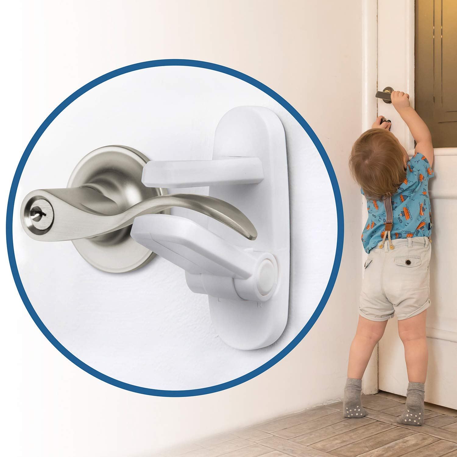 One Hand Opertaion Adhesive Baby Proofing Door Handle Safety Locks for Kids 1 Pack Child Proof Door Lever Lock Prevents Toddlers from Opening Doors