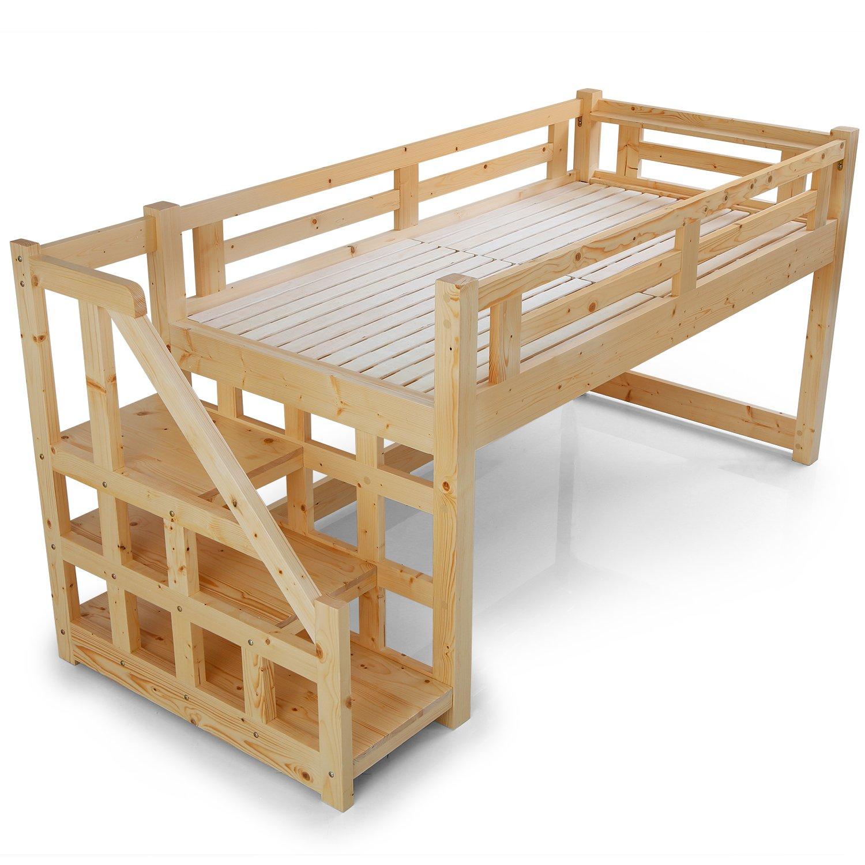 LOWYA (ロウヤ) ロフトベット 木製ベット 天然木 北欧パイン スノコ 階段 左右対応 ミドルタイプ シングルベット ナチュラル 一人暮らし おしゃれ 新生活 B01MFI02DB ナチュラル 【ミドルタイプ】シングル