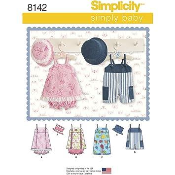 Simplicity Pattern 8142 del bebé Pelele en 2 Longitudes Jumper/Bragas y Gorro patrón de Costura, Color Blanco: Amazon.es: Hogar