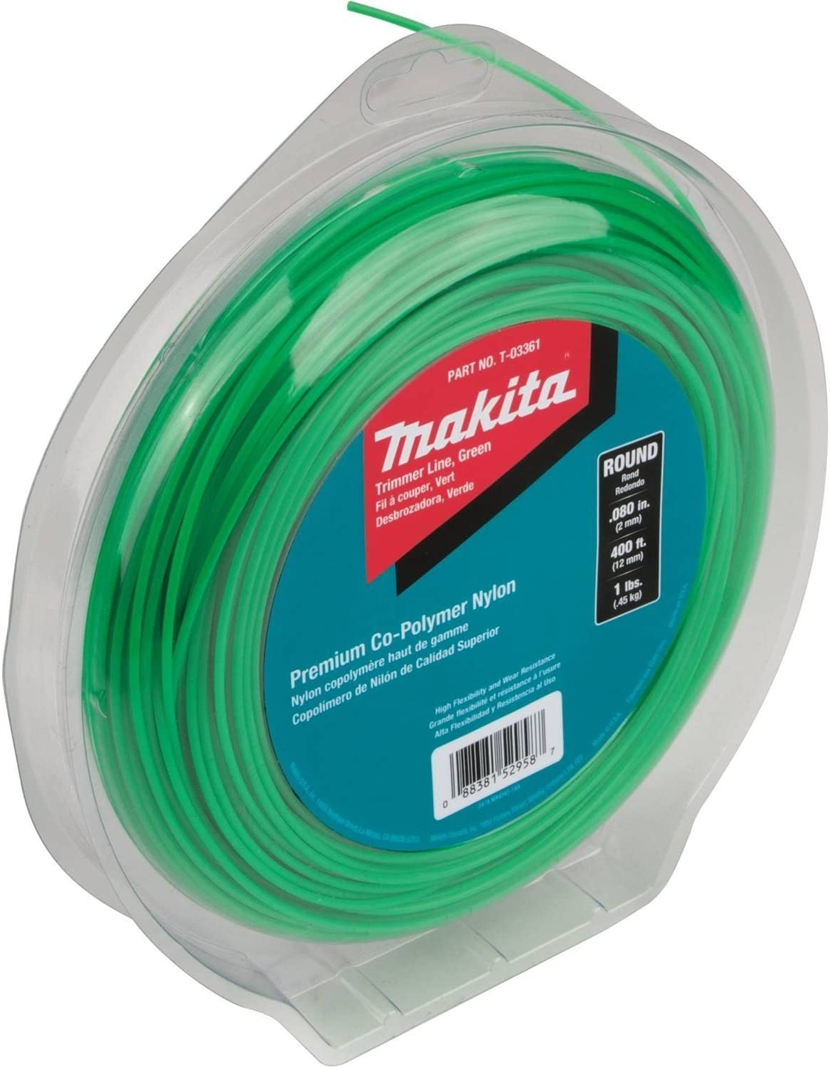 "Makita T-03361 Round Trimmer Line, 0.080"", Green, 400, 1 lbs"