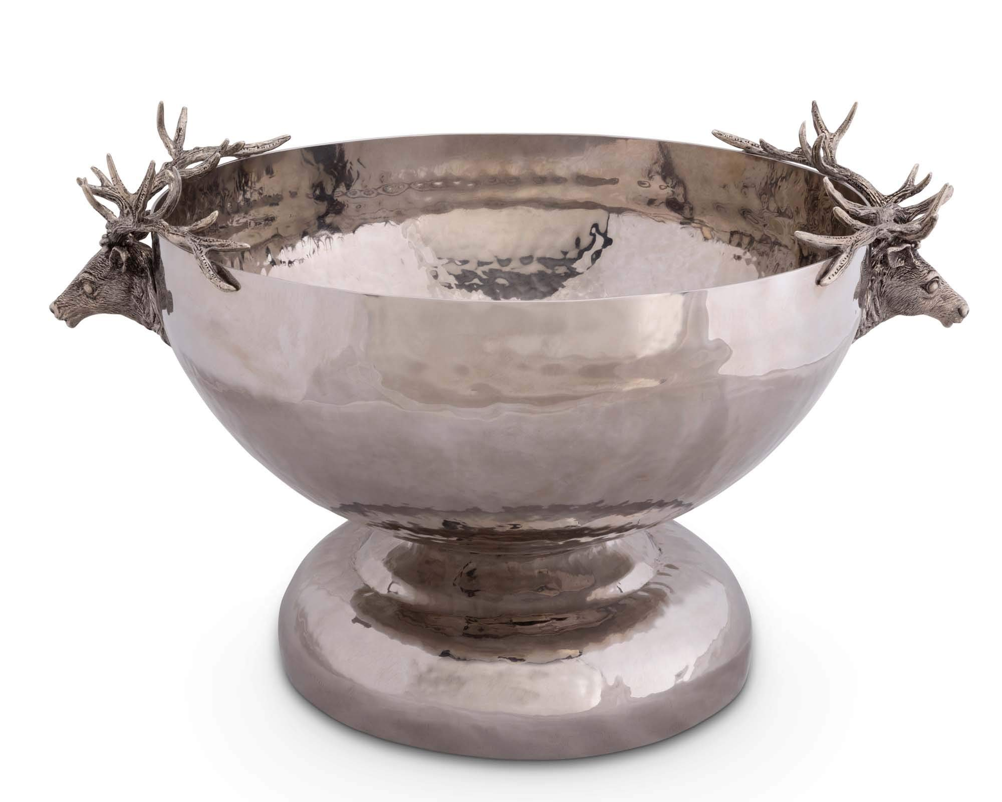 Vagabond House Pewter Elk Head Stainless Ice Tub 15'' Diameter 11.5'' Tall