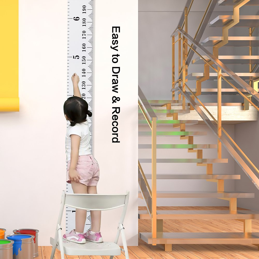 Canvas Height Measurement Ruler for Nursery Room Decoration,79x7.9 Smileupon Baby Growth Chart Wall Hanging Ruler for Kids Grey