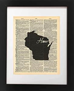 Wisconsin State Vintage Map Vintage Dictionary Print 8x10 inch Home Vintage Art Abstract Prints Wall Art for Home Decor Wall Decorations For Living Room Bedroom Office Ready-to-Frame Home