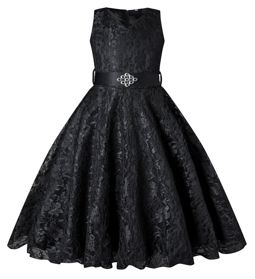 SHOWADAY Girl's Princess Sleeveless Tulle Lace Glitter Vintage Pageant Prom Dresses Black 12T