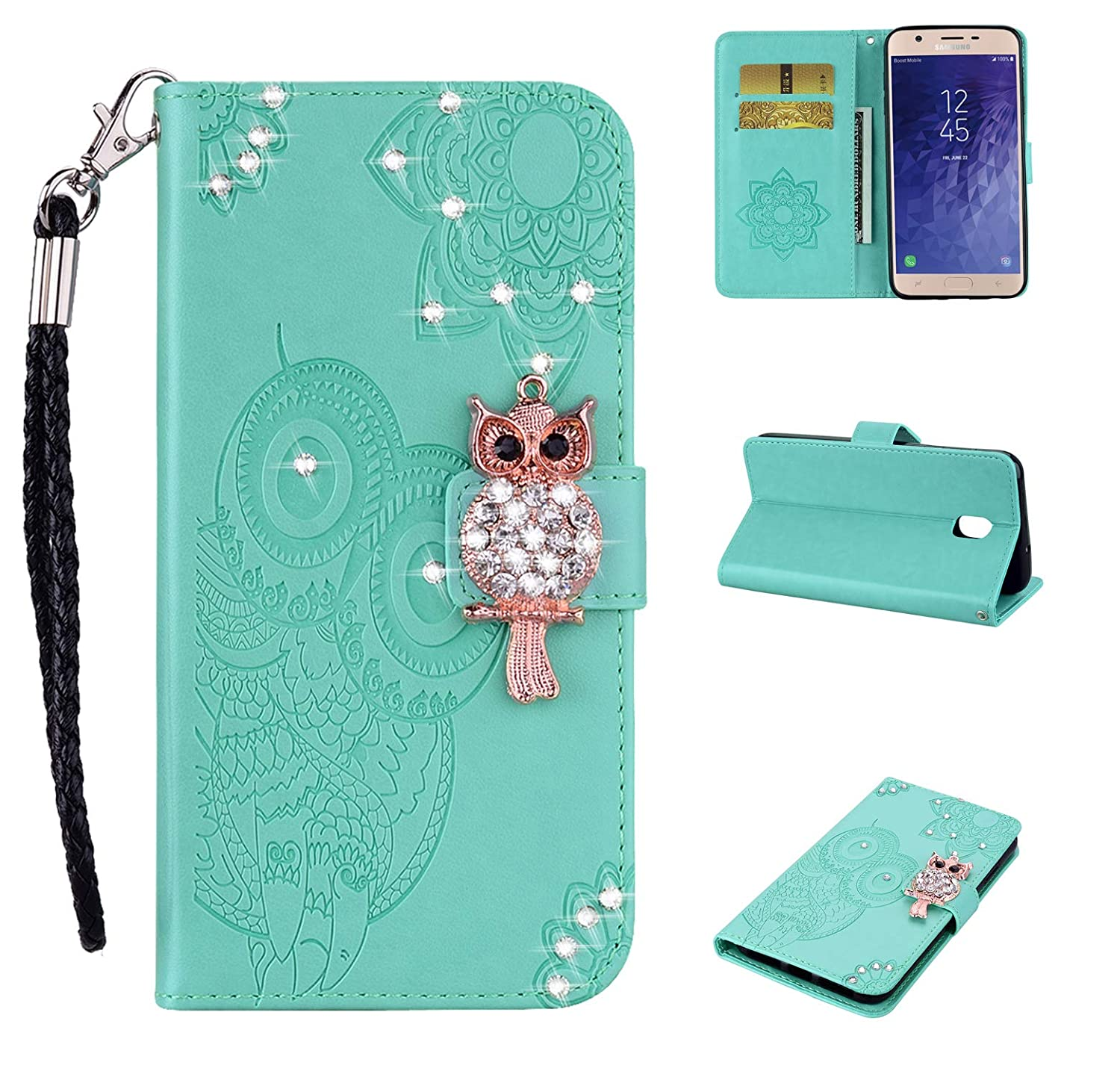 Funyye Rose Gold Strap Cover for Samsung Galaxy J3 2018,Cute 3D Diamond Owl Pattern Design Magnetic Flip Wallet Glitter Case with Stand Card Holder Slots Cover for Samsung Galaxy J3 2018
