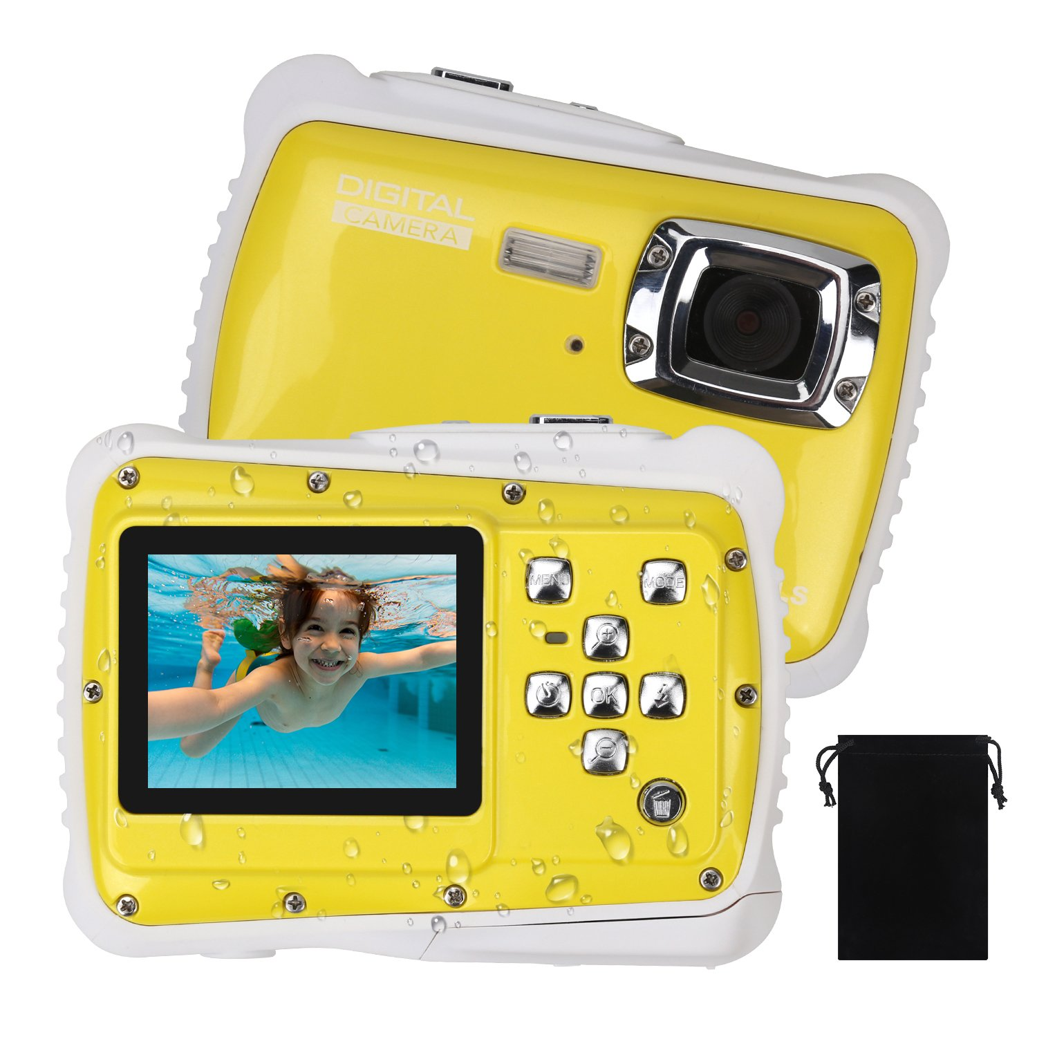 Waterproof Camera for Kids, DECOMEN Underwater Digital Camera for Children, Sport Action Camcorder with 12MP HD Photo Resolution, 2.0'' LCD, 8X Digital Zoom, Flash, and Mic, Best Gift Choice for Kids.
