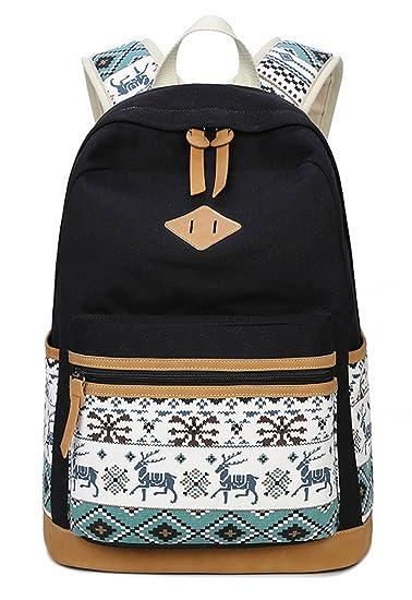 13b8b21c8302 HAPPYTIMEBELT Double Zipper Deer Pattern Printing School Backpack Student  Book Bag(Black)