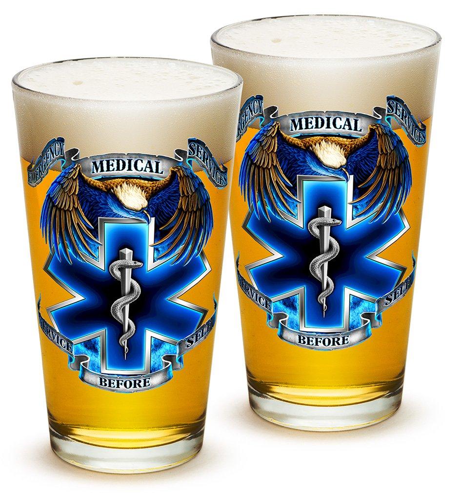 Pint Glasses – EMT Paramedic Gifts for Men or Women – EMT Beer Glassware – Hero's EMS Beer Glasses with Logo - Set of 2 (16 Oz)