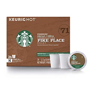 Starbucks Decaf Pike Place Roast Coffee K-Cup Pods   Medium Roast   Coffee Pods for Keurig Brewers   4 Boxes (96 Pods)