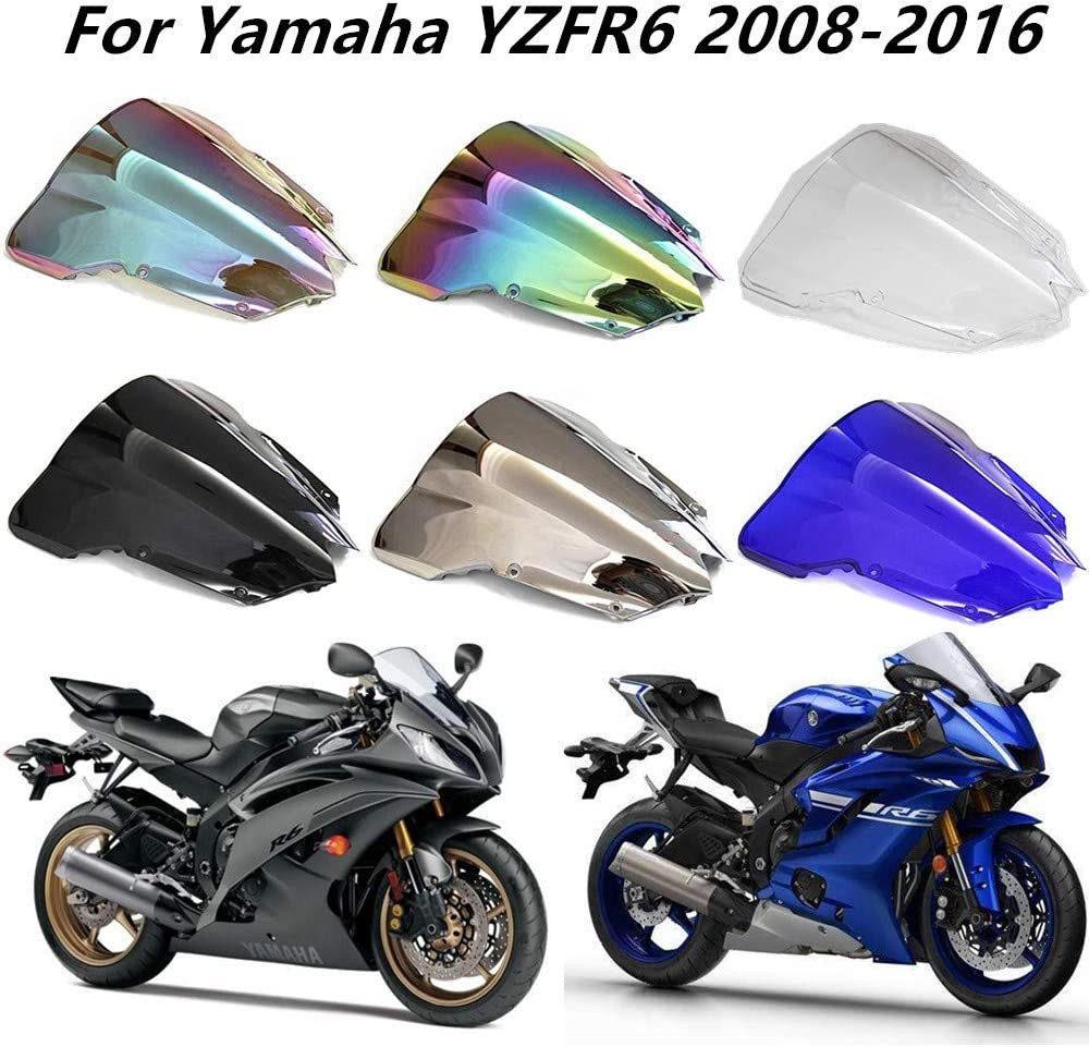 Motorcycle Windshield Windscreen Wind Deflectors Motorbike screen For Yamaha YZFR6 YZF R6 2008-2016 Black