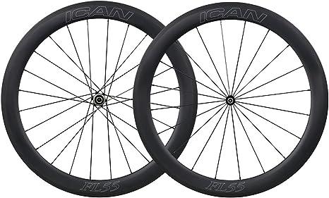 ICAN 700C Carbono Carretera Bicicleta Ruedas 55mm Clincher ...