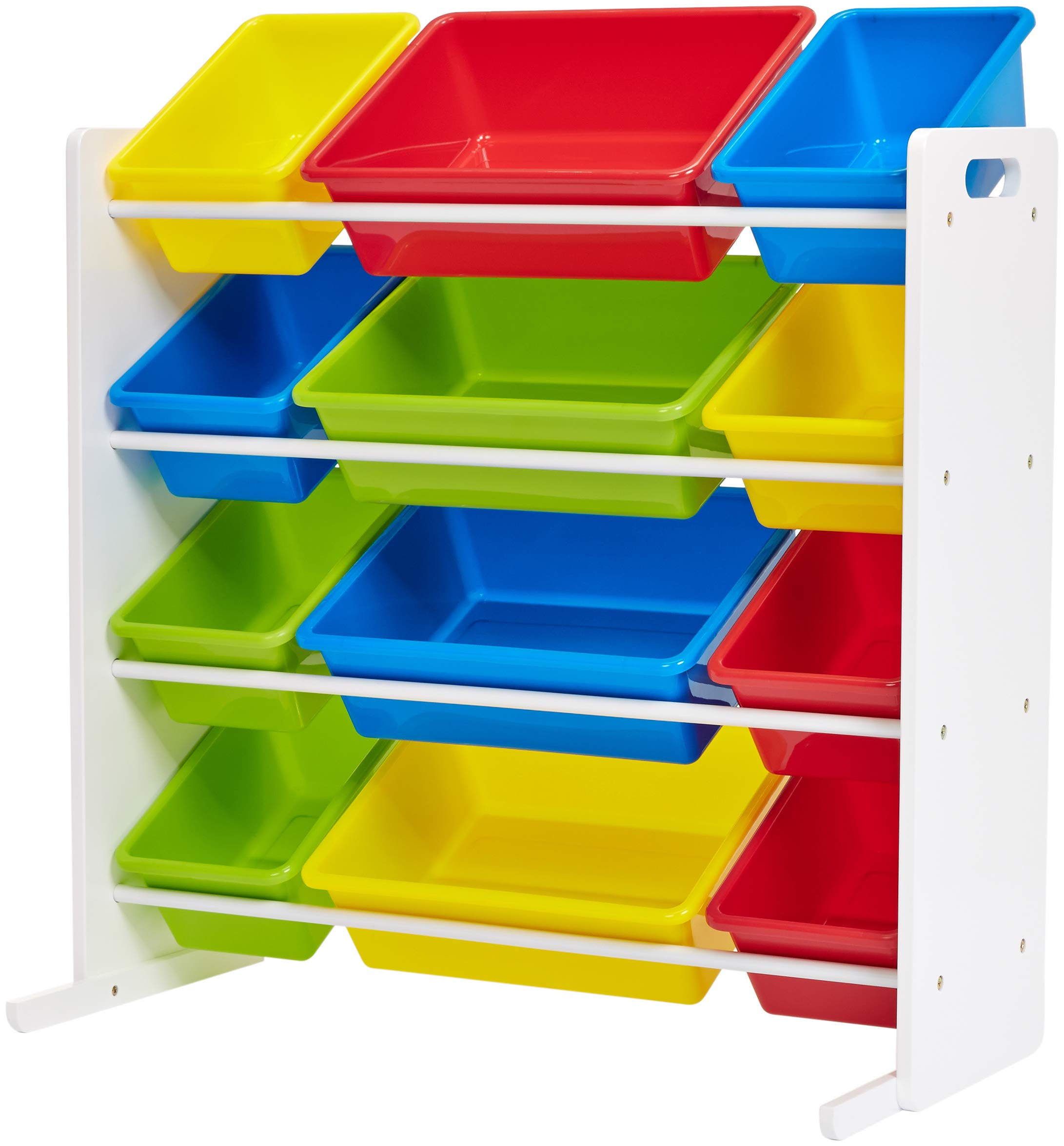 Phoenix Home Lodi Kid's Toy Storage Organizer with 12 Colorful Plastic Bins - Red, Yellow, Green, Blue