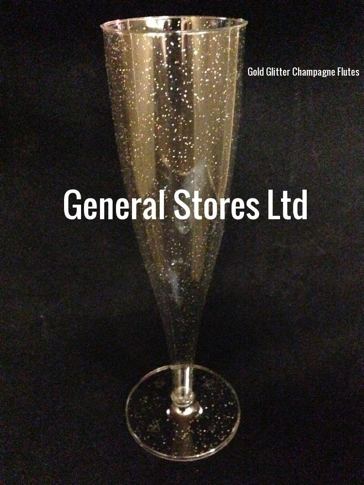 20 x GOLD GLITTER CLEAR ONE PIECE PLASTIC CHAMPAGNE FLUTES GLASSES - (1P) GeneralStoresLtd
